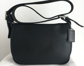 Vintage Coach Patricia's Legacy Black Leather Shoulder Bag with Nickel Hardware, Style 9951, Made in USA