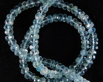 """16"""" Natural Classic Blue Aquamarine Faceted Roundels Shape Beads 5 mm. H15-26"""