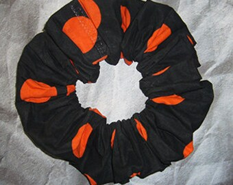 Polka Dot Hair Scrunchie, Holiday Fabric Hair Tie, Ponytail Holder , Large Orange on Black