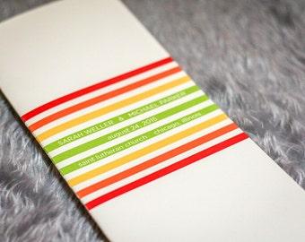 "Modern Wedding Programs, Striped Wedding Programs, Red, Yellow & Lime Green - ""Contemporary Triple Striped"" Folded Booklet Program - DEPOSIT"