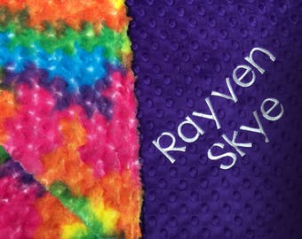 Rainbow Blanket Rainbow Nursery Rainbow Baby Blanket Rainbow Decor Rainbow Adult Minky Blanket Tie Dye Blanket Personalized Rainbow Gift
