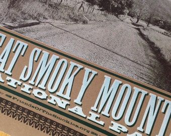 LEAVE NO TRACE Smoky Mountains Hand Printed Letterpress Poster