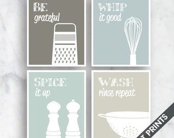 Funny Kitchen Art Print Set (Grater, Whisk, Salt Pepper, Colander) Set of 4 - Art Prints (Featured on Neutral Colors A)