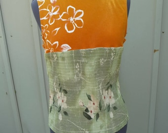 Upcycled Shirt, Handmade Tunic, Orange Green, Refashion Clothing, Sleeveless Shirt, Flowers, Recycled Clothing, Unique Clothing, Urban Chic