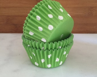 Lime Dot Cupcake Liners, Standard Sized, Stay Bright Baking Cups (50)