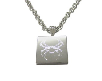 Silver Toned Etched Spider Bug Insect Necklace