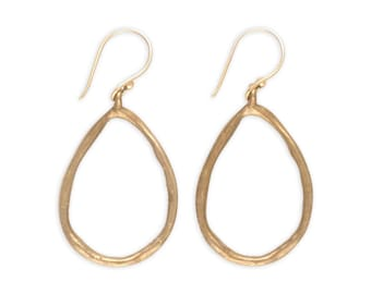 Rustic Earrings - Bronze Earrings - Teardrop Hoop Earrings - Artisan Earrings - Metalwork Bronze Jewelry - Egyptian Rain Earrings (EB-TD)