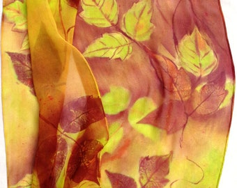 silk scarf extra long chiffon Poison Ivy hand painted unique weeds wearable art women fashion red chartreuse orange lemon