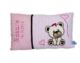 Personalisiertes Kissen zur Geburt oder Taufe, Mädche,mit Motiv Bär,Teddy, in rosa, aus Baumwollstoff, ein tolles Kuschelkissen, für Kinder.