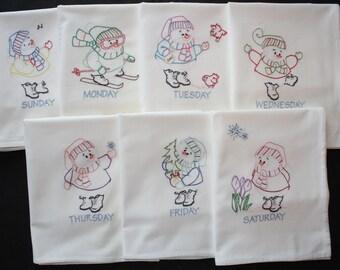 "Hand Embroidered ""SNOWMEN"" Flour Sack Kitchen Dish Towels - Set of 7 - XL Towels"