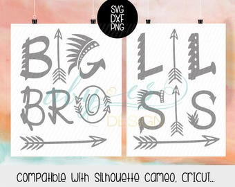 Big Bro, Lil Sis SVG, tribial SVG, Boho Svg, DXF, Png, cut files, Cricut, Silhouette, cameo, arrow svg, Big Brother Little Sister