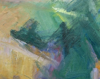Umbria GICLEE ART PRINT 17 x 11 abstract landscape Italy sage green light orange lavender