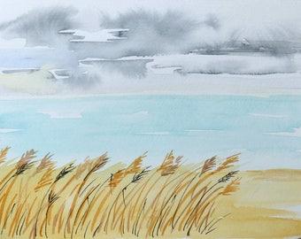 Seaside Art/Sea Watercolor/Sea Painting/Seaside Landscape/Sea Art/Sea/Travel Art/Vacation Art/Original Watercolor/Hand-made/Travel Gift