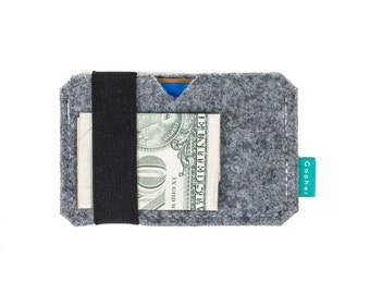 Minimalist wallet, mens wallet, card holder, gift for him, felt card holder, vegan wallet, Gopher