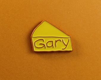 Gary vegan cheese enamel pin /// funny cheeze vegetarian food badge gift