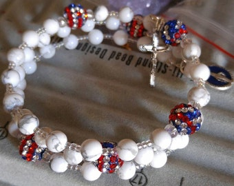 Beautiful red, white and blue Rosary bracelet