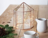 Geometric Terrarium, Wedding Decorations, Mother's Day Gift, Wedding Centerpiece, Copper Home Decor, Stained Glass Table Decor, Glass House