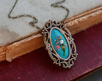 With Lavender and Lace- hand embroidered necklace, floral, bouquet, turquoise, pink, garden