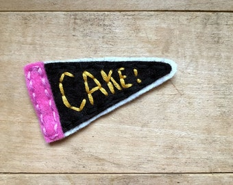Cake Pennant. Hand Embroidered Patch.