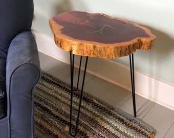 "Tree Slice Side Table with Hairpin Legs, rustic cedar slice table, metal hairpin legs, 26"" tall, blue gemstone inlay, reclaimed Texas cedar"