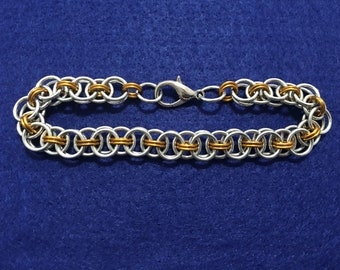 Silver and Gold Helmweave Chainmaille anklet