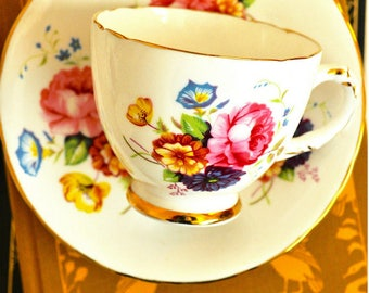 Sutherland Pink Yellow Floral Demitasse Cup and Saucer Fine Bone China England