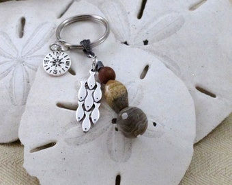 Key Ring for Fisherman  Father's Day gift  Gift for Dad  Gift for Fisherman Compass Charm School of Fish Charm