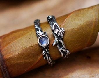 Set of 2 Dew+Mio Stack Ring Set READY TO SHIP Moonstone Engagement Set, Wedding Ring Set, jewelry set, Stacking Ring Set, moonstone ring set