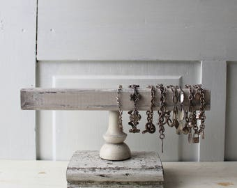 Weathered Gray Bracelet Holder - Architectural Salvage - Gray Bracelet Display with Square Bar - Quantities Available Ready to Ship