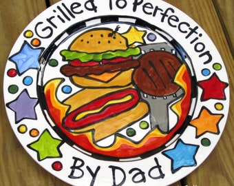 """CUSTOM 13""""  BBQ Family  Platter Personalized great for dad too grill food plate"""