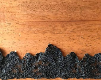 6 yards black vintage lace trim