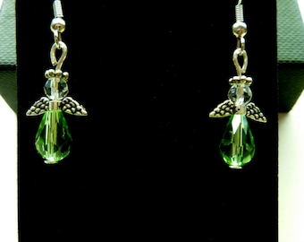 Closeout. Green Angel Earrings with Hypoallergenic Fish Hook Posts