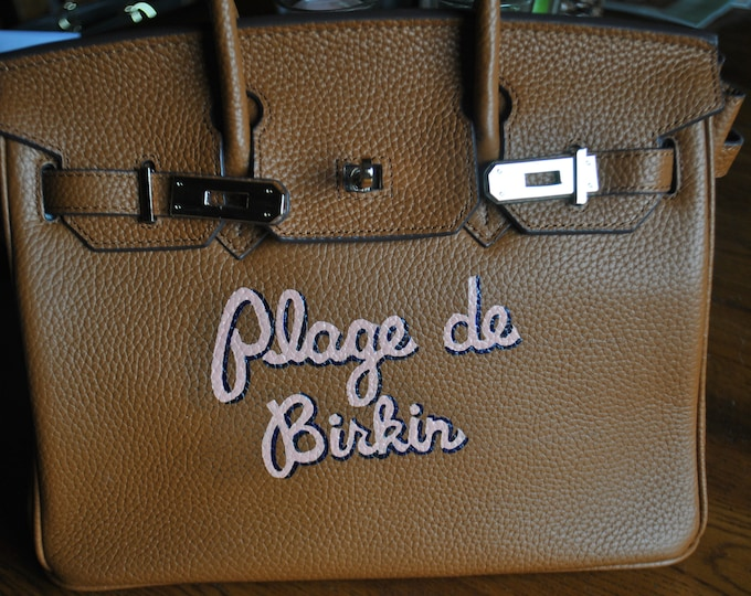 Custom Hand Painted Birkin Bag Plage de Birkin  french for Beach Birkin - sold