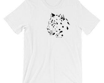 Leopard Design Short-Sleeve Unisex T-Shirt striking minimalist design. Make a bold statement with this cool Leopard tee for Leopard lovers