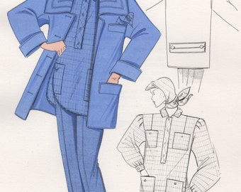 Original Fashion Drawing, Watercolor & Ink Illustration, Cornflower Blue Winter Outfit, 80's Fashion illustration, Hand Drawn Sketch, Croqui