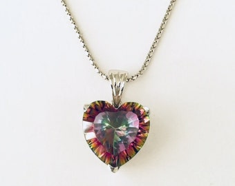 Heart Shape Mystic Quartz Pendant With Chain in Sterling silver