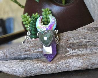Angel Aura Moon & Amethyst Necklace w/ Opals, Prehnite Gemstone, Aura OPALITE Crescent Moon Jewelry, Pagan Crystal Necklace, Gypsy Jewelry