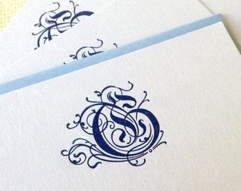 Letterpress Monogram Stationery Set