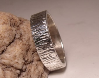 5 MM Flat Hammered Wedding Band Sterling Silver RF424
