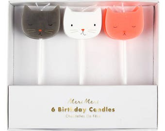 Mini Cat Birthday Candles - Set of 6 Meri Meri Cat Candles in 3 Colors (Black, Pink, & White) - Perfect for a Kitty-Themed Birthday Party