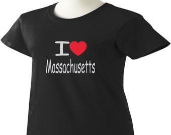 I Love Massachusetts T-Shirt Heart MA Womens Ladies