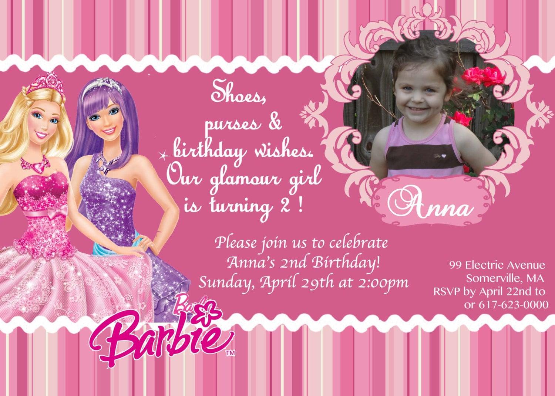 CUSTOM PHOTO Invitations Princess Pop Star Barbie Birthday