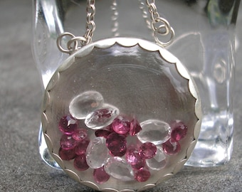 Shaker Necklace - Gem Shaker Necklace - Garnet Silver Pendant - Rhodolite Garnet - White Topaz Necklace - Silver Shaker Necklace - Pink Gems