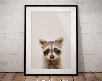 Raccoon Print, Woodland Creature Art, Nursery Raccoon Art,  Woodland Raccoon Art, Printable Raccoon, Nursery Animal Decor, Raccoon Art Print