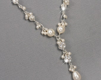 Pearl and Rhinestone Y Drop Necklace, Cluster Necklace, Swarovski Bridal Jewelry, Unique Wedding Jewelry, Pearl Bridal Jewelry