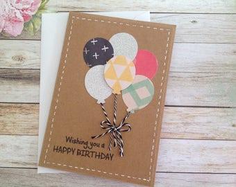 Cards etsy handmade birthday card birthday card kraft card balloon card handmade card bookmarktalkfo Choice Image
