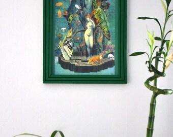 Poster framed collage, feminist poster, poster surreal pop art Symbolist, new white or black frame, gift idea, Christmas gift.