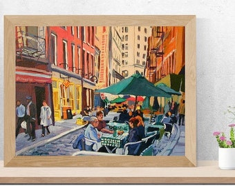 Cafe Art. New York Art Stone Street Cafe  NYC Art Print  8x10, Smorgas Cafe Wall Street New York City Cityscape Painting by Gwen Meyerson