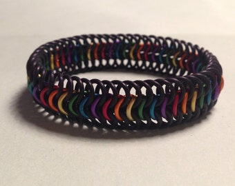 Stretchy rainbow pride chainmaille bracelet
