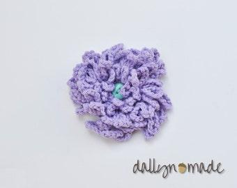 Lavender Flower Bow, Child's Hair Clip, Chrysanthemum, Purple, Girl's Hair Accessory, Photo prop